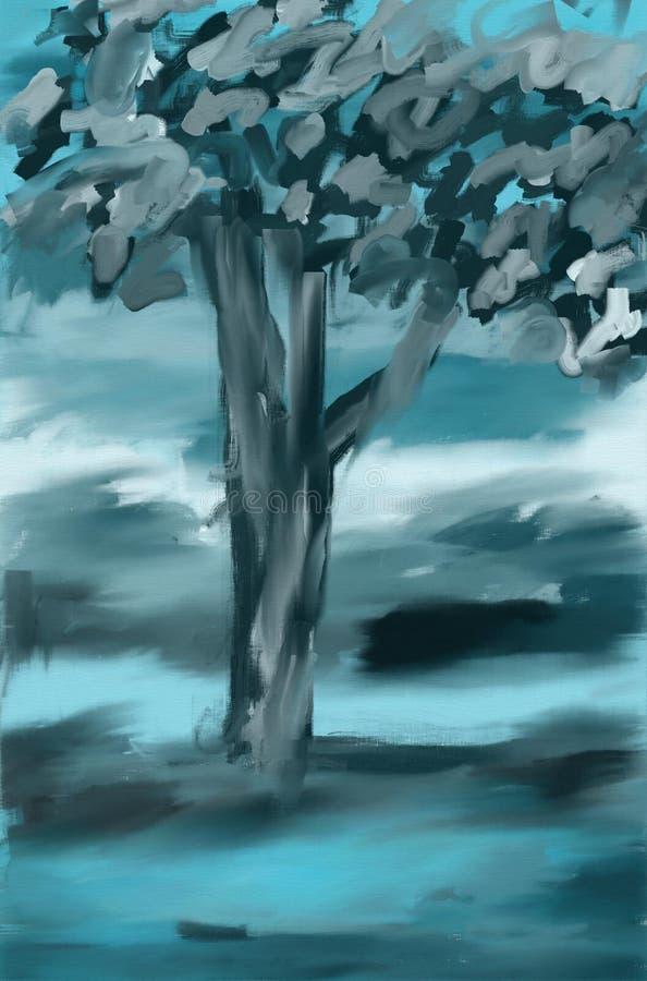 blå tree för liggande målning royaltyfri illustrationer