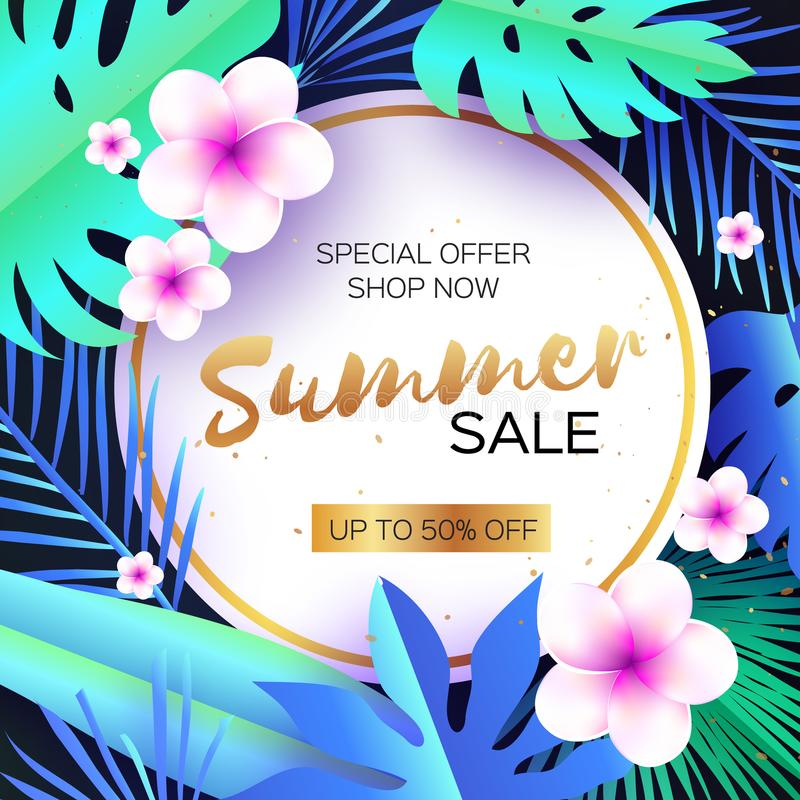 Blå tropisk sommar Sale Palmblad växter, blommar frangipanien - Plumeria Exotisk papperssnittkonst hawaiibo cirkel royaltyfri illustrationer