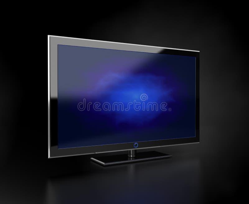 blå tv för plan skärm vektor illustrationer
