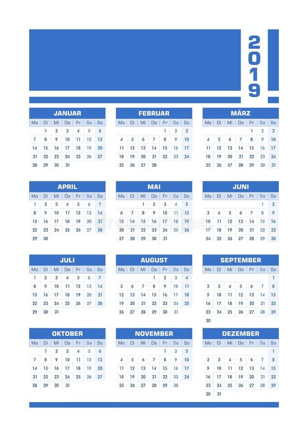 Blå 2019 tysk kalender vektor illustrationer