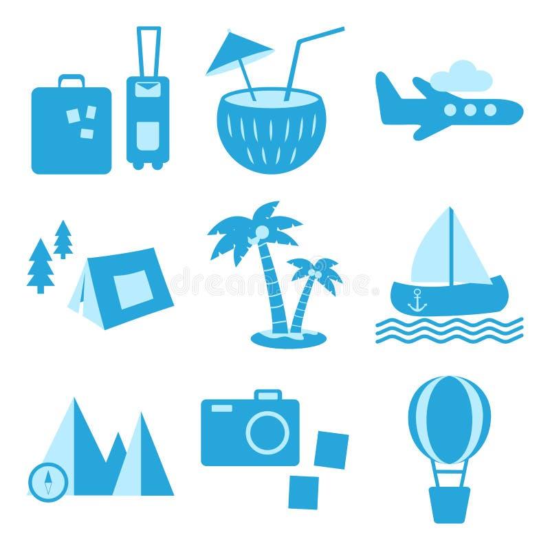Blå uppsättning av lopp-, rekreation- och semestersymboler Turismtyper vektor vektor illustrationer