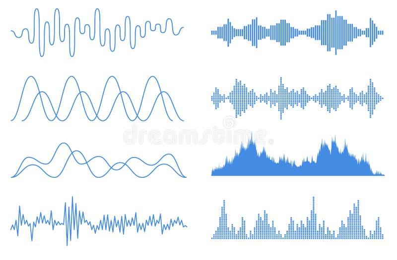 Blå uppsättning för solida vågor Ljudsignal utj?mnareteknologi, pulsmusikal Musikljudsignalfrekvens, stämmalinje waveform som är  stock illustrationer