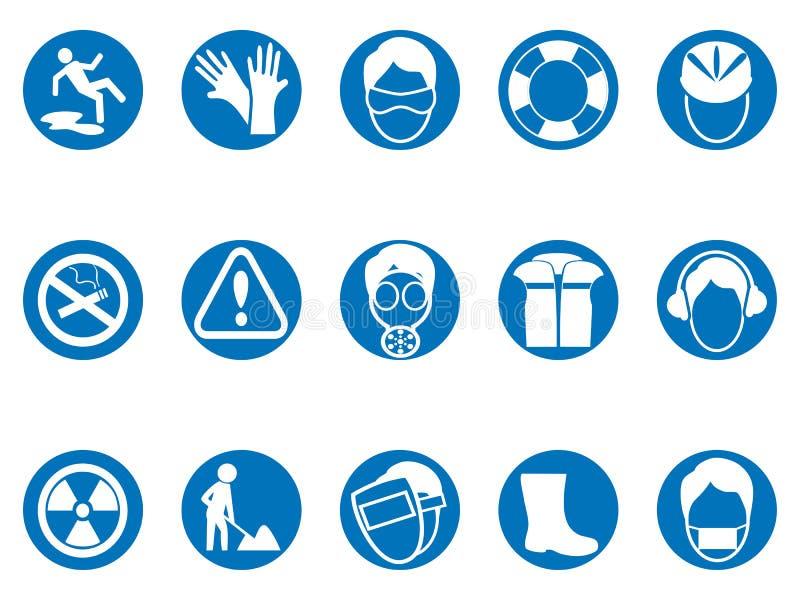 Blå uppsättning för symboler för knapp för arbetssäkerhetsrunda royaltyfri illustrationer