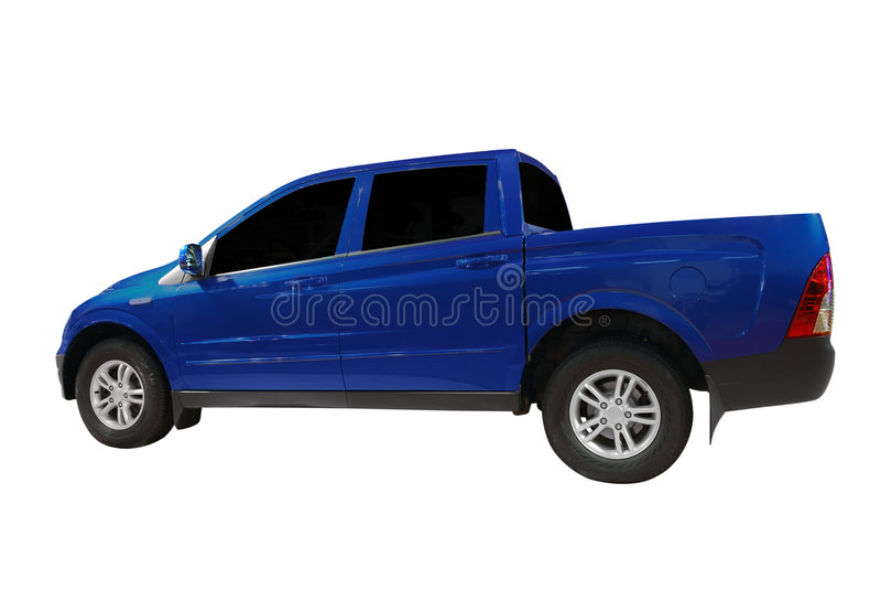 blå uppsamlingslastbil royaltyfri bild