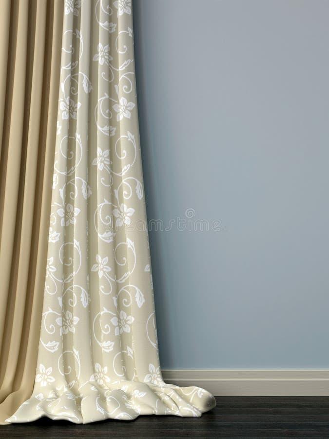 Blå vägg med gardiner royaltyfri foto