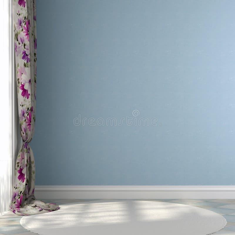 Blå vägg med kulöra gardiner royaltyfri fotografi