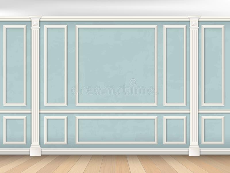 Blå vägg med pilaster royaltyfria bilder
