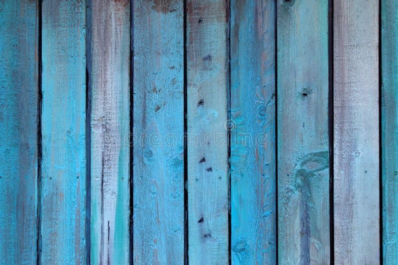 Blå vägg som göras av trä royaltyfri fotografi