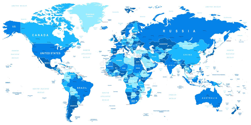 Blå världskarta - gränser, länder och städer - illustration stock illustrationer