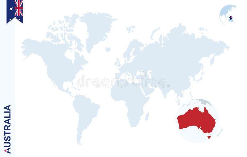 Blå världskarta med förstoring på Australien stock illustrationer