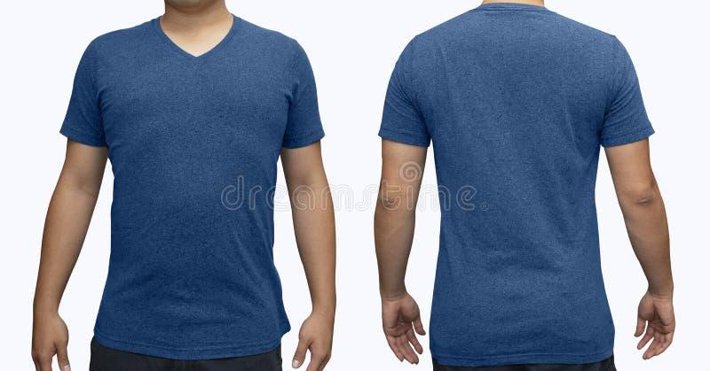 Blå v-hals t-skjorta på människokroppen för åtlöje för grafisk design arkivfoto