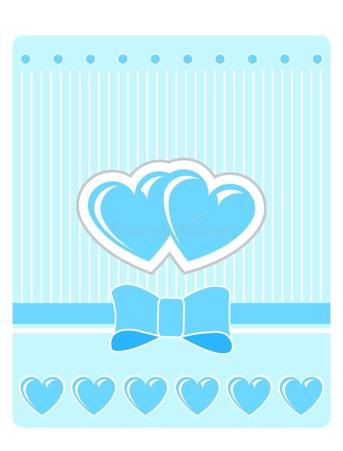 blå valentin för korthälsningshjärtor s royaltyfria foton