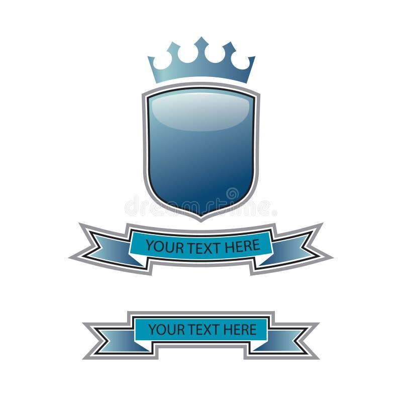 blå vapensköld vektor illustrationer