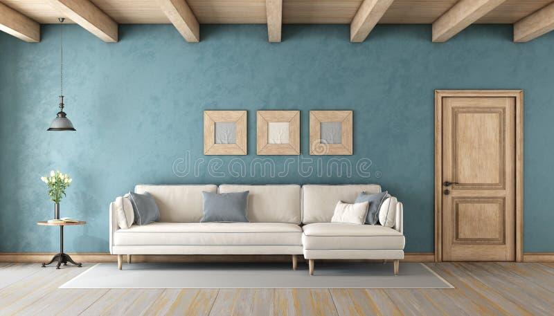 Blå vardagsrum med den vita soffan royaltyfri illustrationer