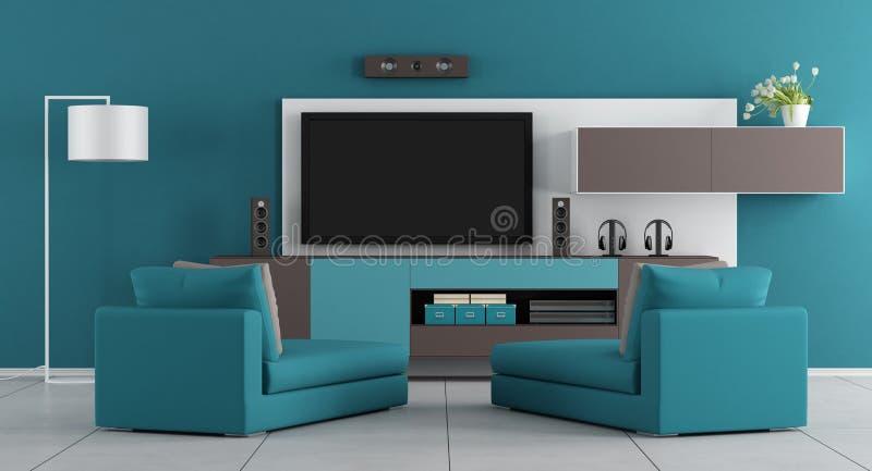 Blå vardagsrum med tv royaltyfri illustrationer