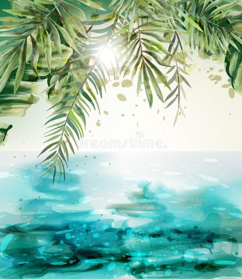 Blå vattenfärg för vektor för kort för sjösidasommarvändkrets Palmblad och solskensikter royaltyfri illustrationer