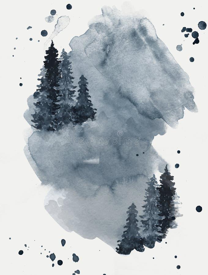 Blå vattenfärgbakgrund med skogträd i dimma arkivfoto