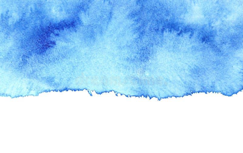 Blå vattenfärgfläck med den isolerade kanten royaltyfri illustrationer