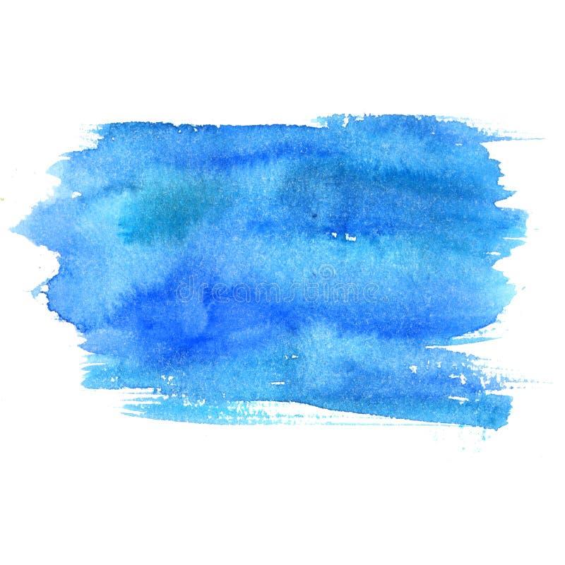 Blå vattenfärgfläck som isoleras på vit bakgrund Konstnärlig målarfärgtextur arkivfoto