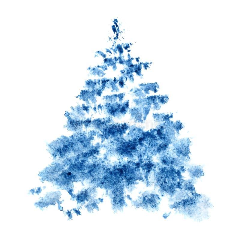 Blå vattenfärgjulgran stock illustrationer