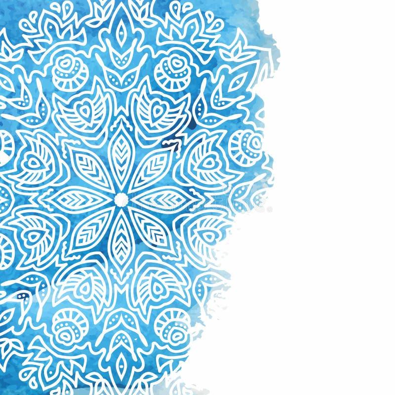 Blå vattenfärgmålarfärgbakgrund med vit hand drog rundaklotter och mandalas stock illustrationer