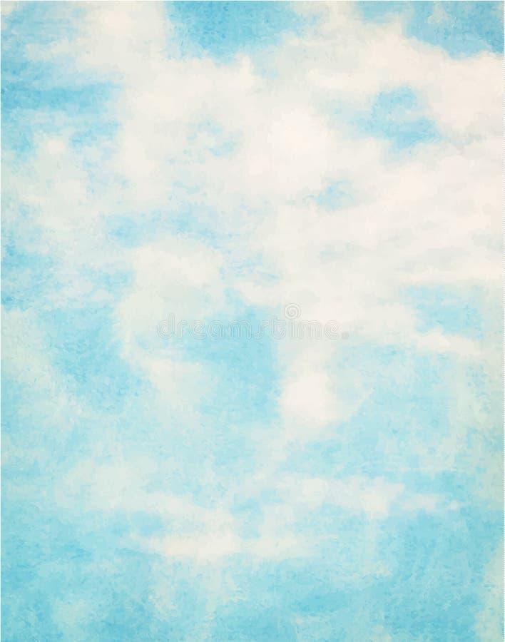 Blå vattenfärgmoln och himmel royaltyfri illustrationer