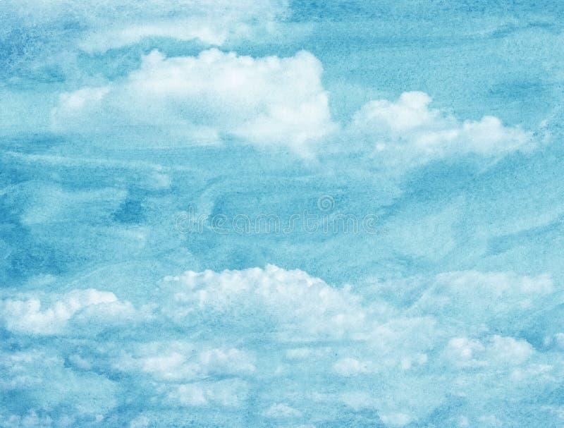 Blå vattenfärgmoln och himmel arkivbilder
