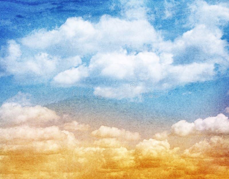 Blå vattenfärgmoln och himmel Vår sommar royaltyfria bilder