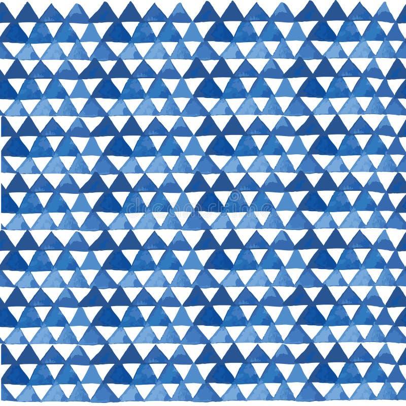 Blå vattenfärgtriangelmodell i vektor vektor illustrationer