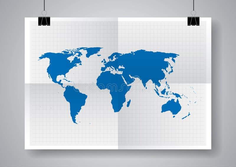 Blå vektoröversikt Världskartamall Två gånger en vikt affisch med klämmor stock illustrationer