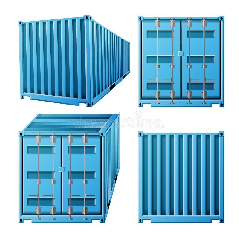 Blå vektor för lastbehållare Klassisk lastbehållare för realistisk metall 3D Fraktsändningsbegrepp Trans.åtlöje vektor illustrationer