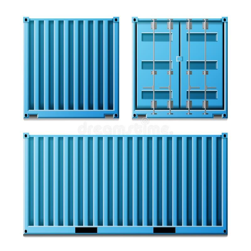 Blå vektor för lastbehållare Klassisk lastbehållare för realistisk metall Fraktsändningsbegrepp Trans.åtlöje upp vektor illustrationer