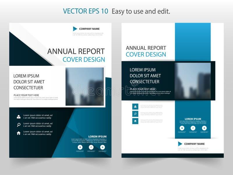 Blå vektor för mall för design för broschyr för abstrakt begreppfyrkantårsrapport Affisch för tidskrift för affärsreklamblad info vektor illustrationer
