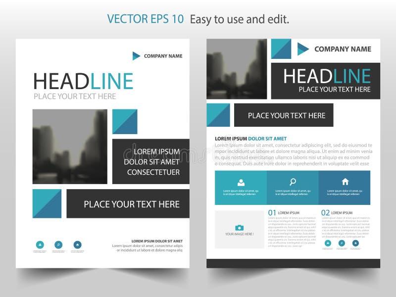 Blå vektor för mall för design för broschyr för abstrakt begreppfyrkantårsrapport Affisch för tidskrift för affärsreklamblad info royaltyfri illustrationer