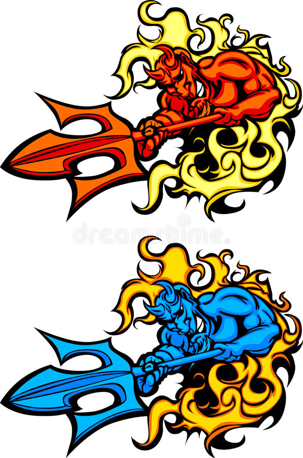 blå vektor för maskot för demonjäkellogoer vektor illustrationer