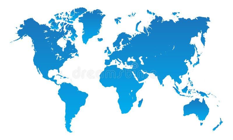 Blå vektor för världskarta royaltyfri illustrationer