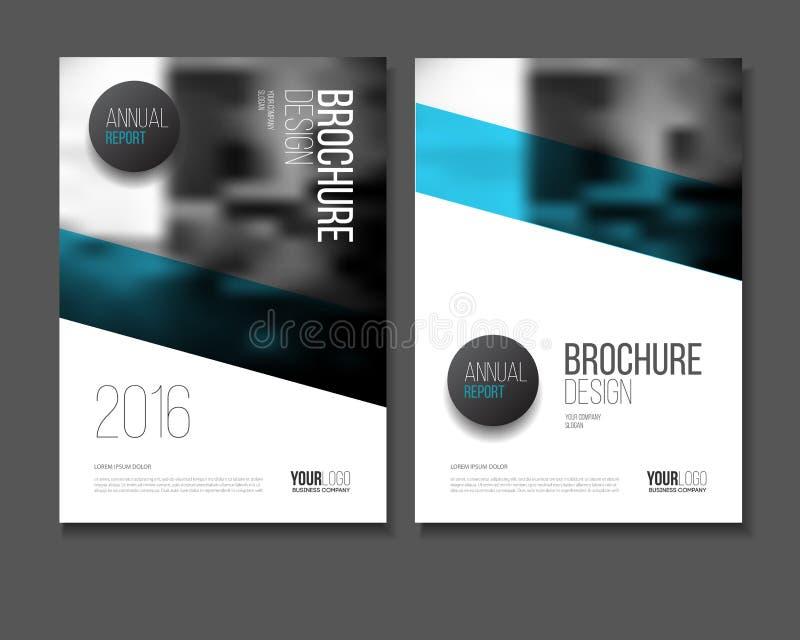Blå vektoraffärsbroschyr eller årsrapportmallvektor, vektor illustrationer
