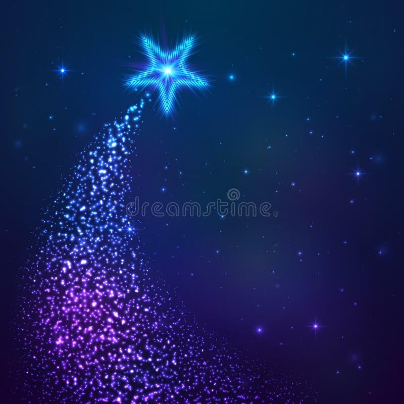 Blå vektorfem-strålar stjärna med dammsvansen royaltyfri illustrationer