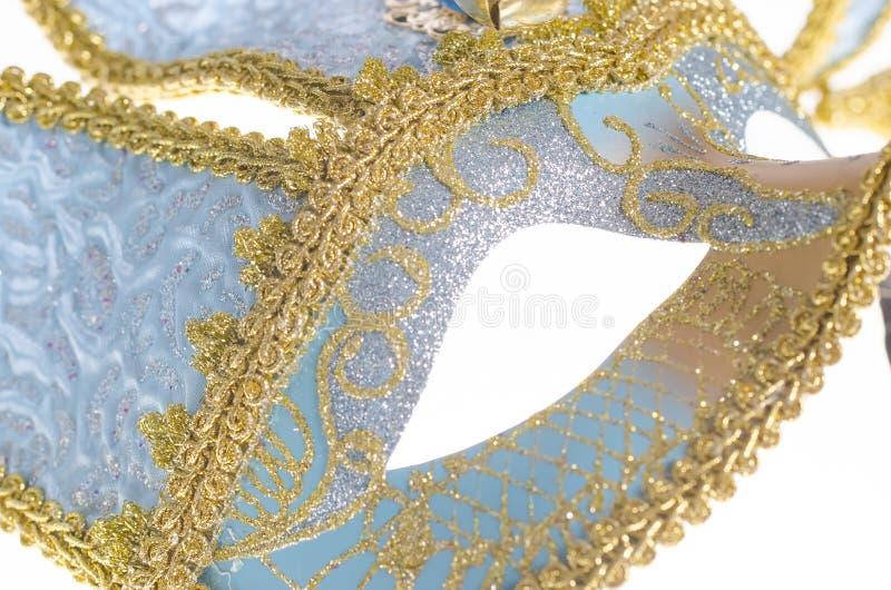 Blå Venetian karnevalmaskering royaltyfri foto