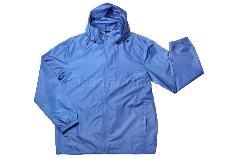 Blå vindtygsjacka arkivfoto