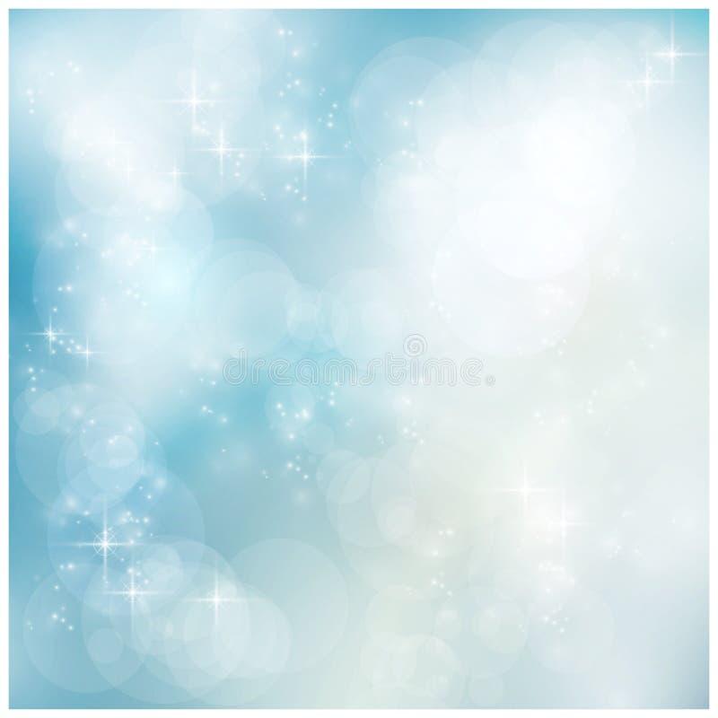Blå vinter för silver, julbokeh royaltyfri illustrationer