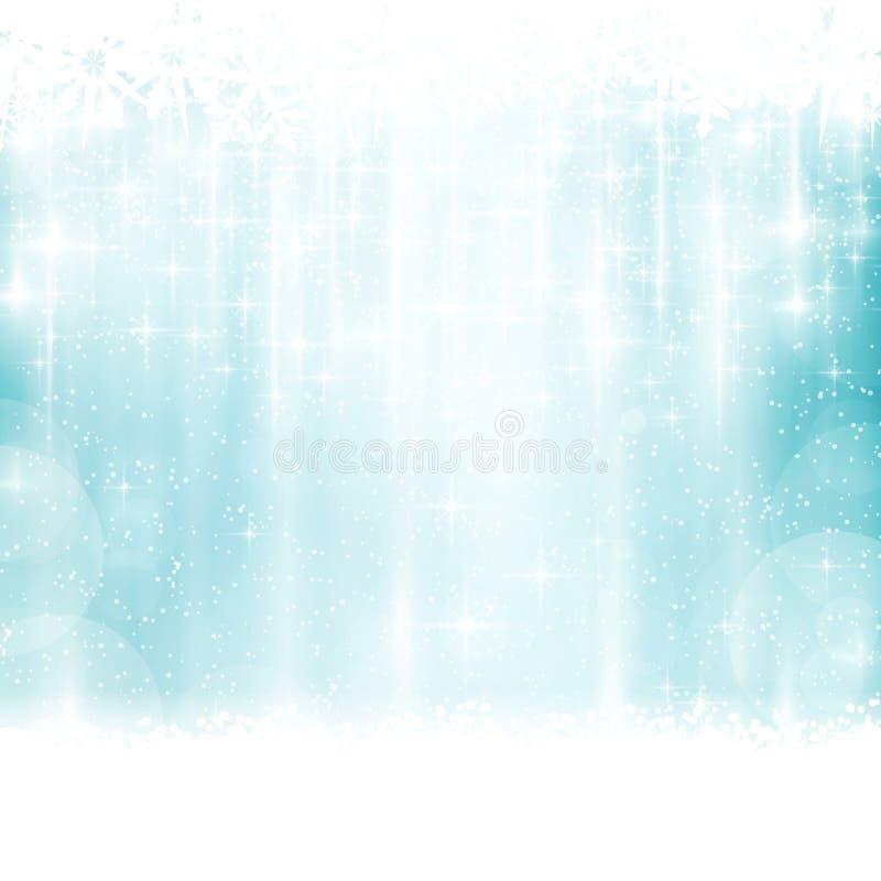 Blå vinter julbakgrund med ljusa effekter royaltyfri illustrationer