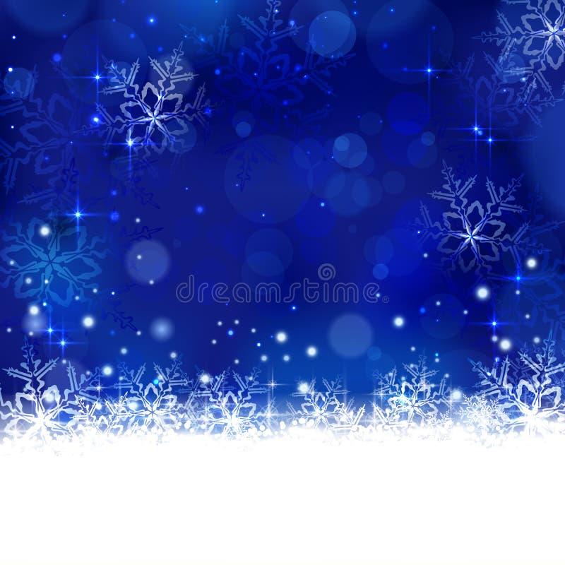 Blå vinter, julbakgrund med snöflingor, stjärnor och shi royaltyfri illustrationer