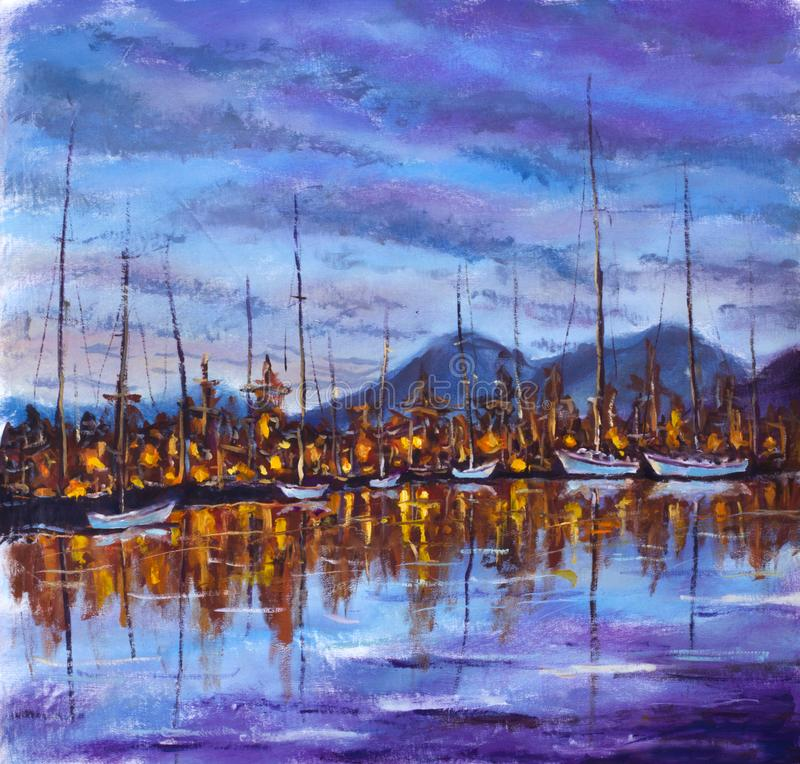 Blå violett solnedgång över ön av fjärden Niight reflekteras den orange staden i lugna vatten Yachter är vita på skeppsdocka arkivfoton