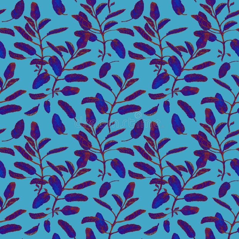 Blå vis man förgrena sig och lämnar den sömlösa yttersidamodellen isolerad på pastell för att slösa bakgrund Botanisk modern vatt stock illustrationer