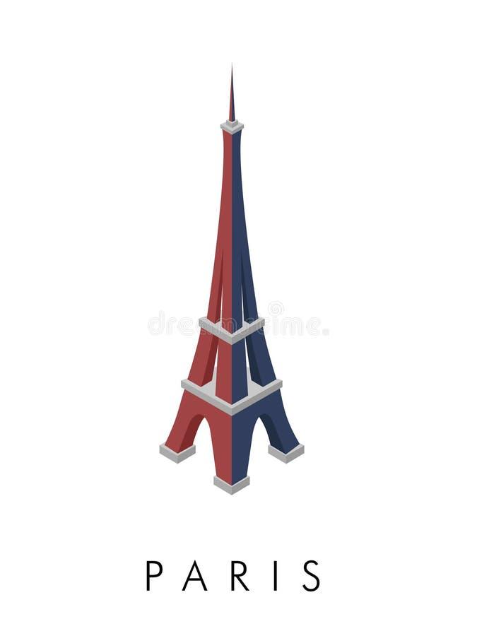 Blå, vit och röd Eiffeltorn arkivbilder