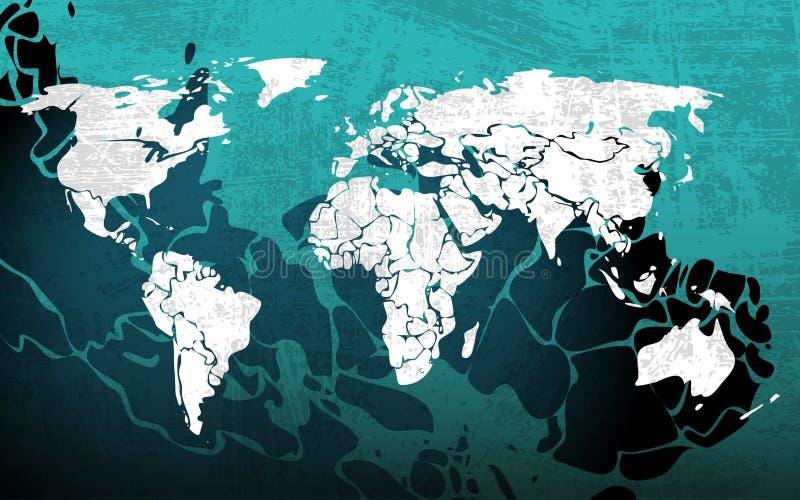 Blå worldmap för Grunge royaltyfri illustrationer