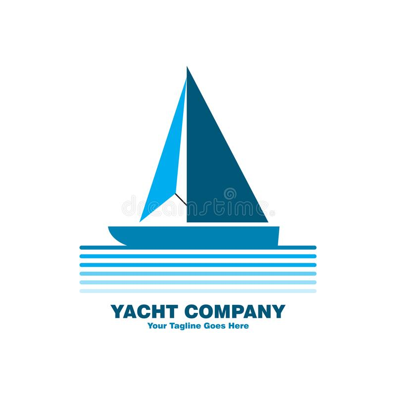 Blå yachtlogo royaltyfri illustrationer