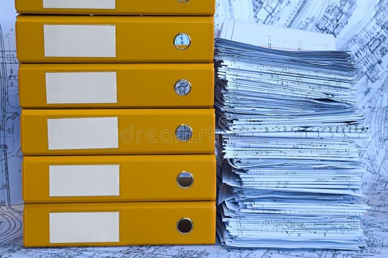 blå yellow för projekt för teckningsmapphög fotografering för bildbyråer