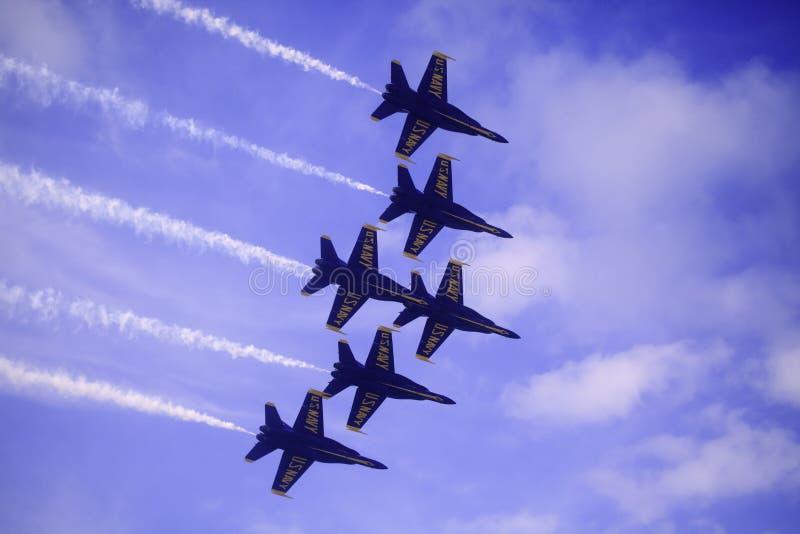 Blåa änglar på Kaneohe Airshow arkivbilder